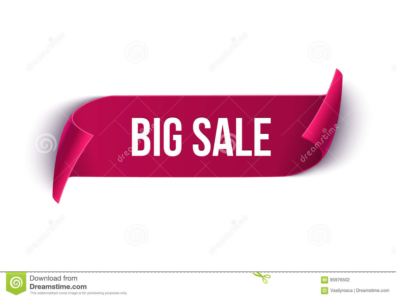 Big Sale vector ribbon design template. Banner sale tag. Market special offer discount label