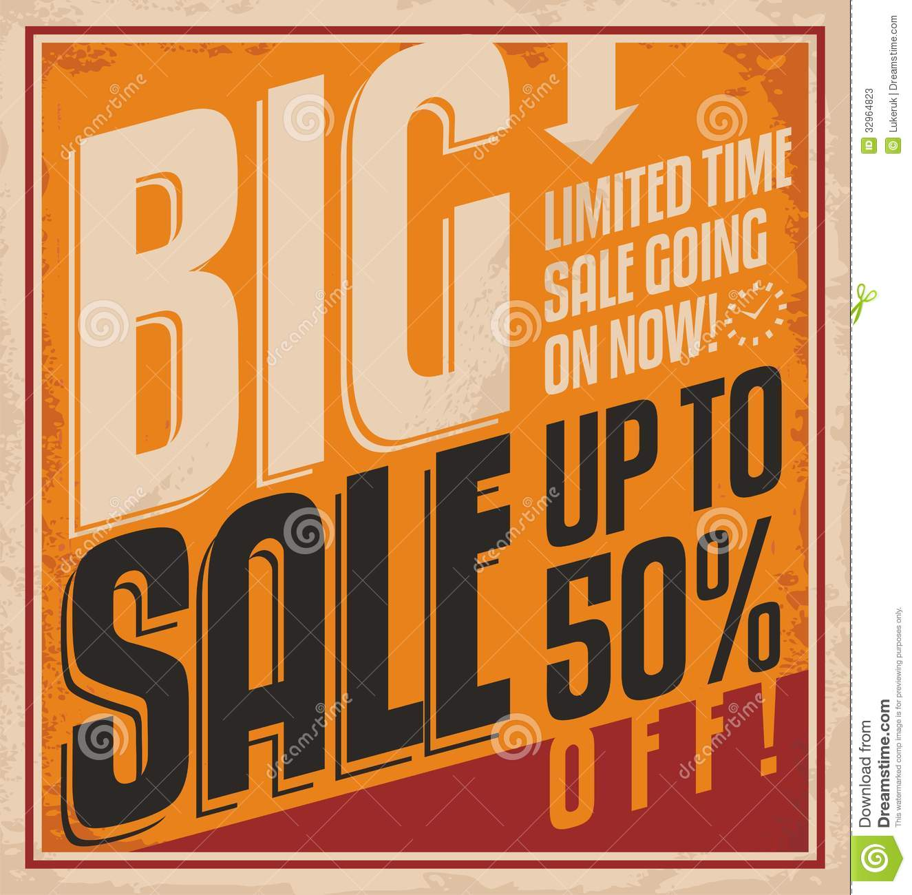 Big sale vintage poster template stock vector for Poster prints for sale