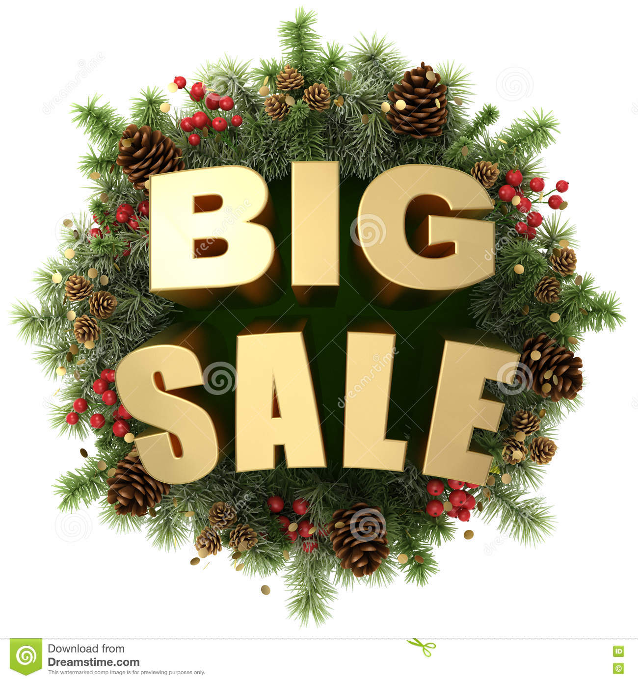 Big Sale Words With Christmas Wreath Stock Illustration