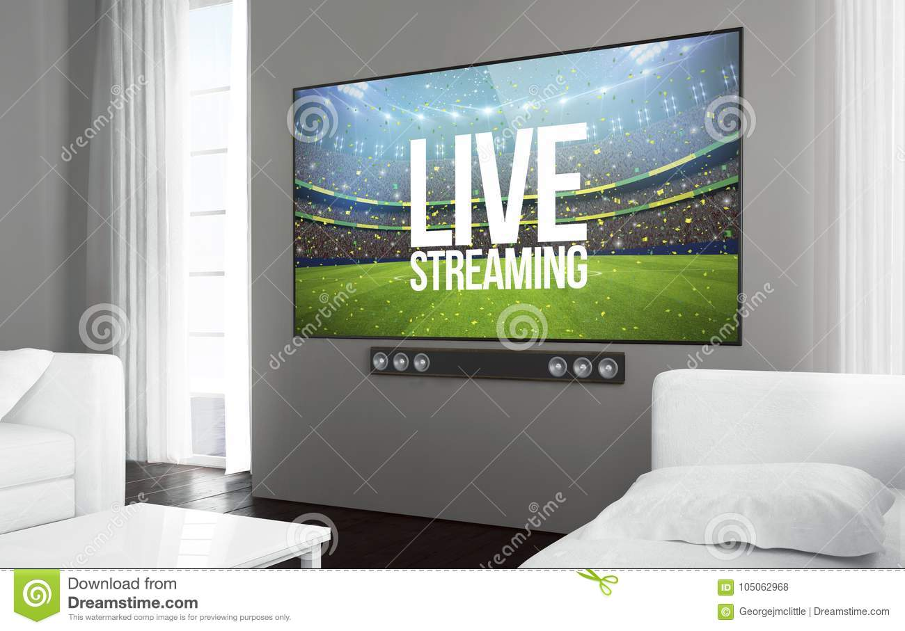 Big Screen Television Live Streaming Stock Illustration