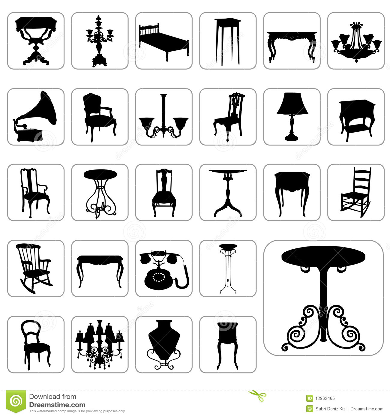 Antique chair silhouette - Big Set Of Antique Furniture Vector Royalty Free Stock Photo