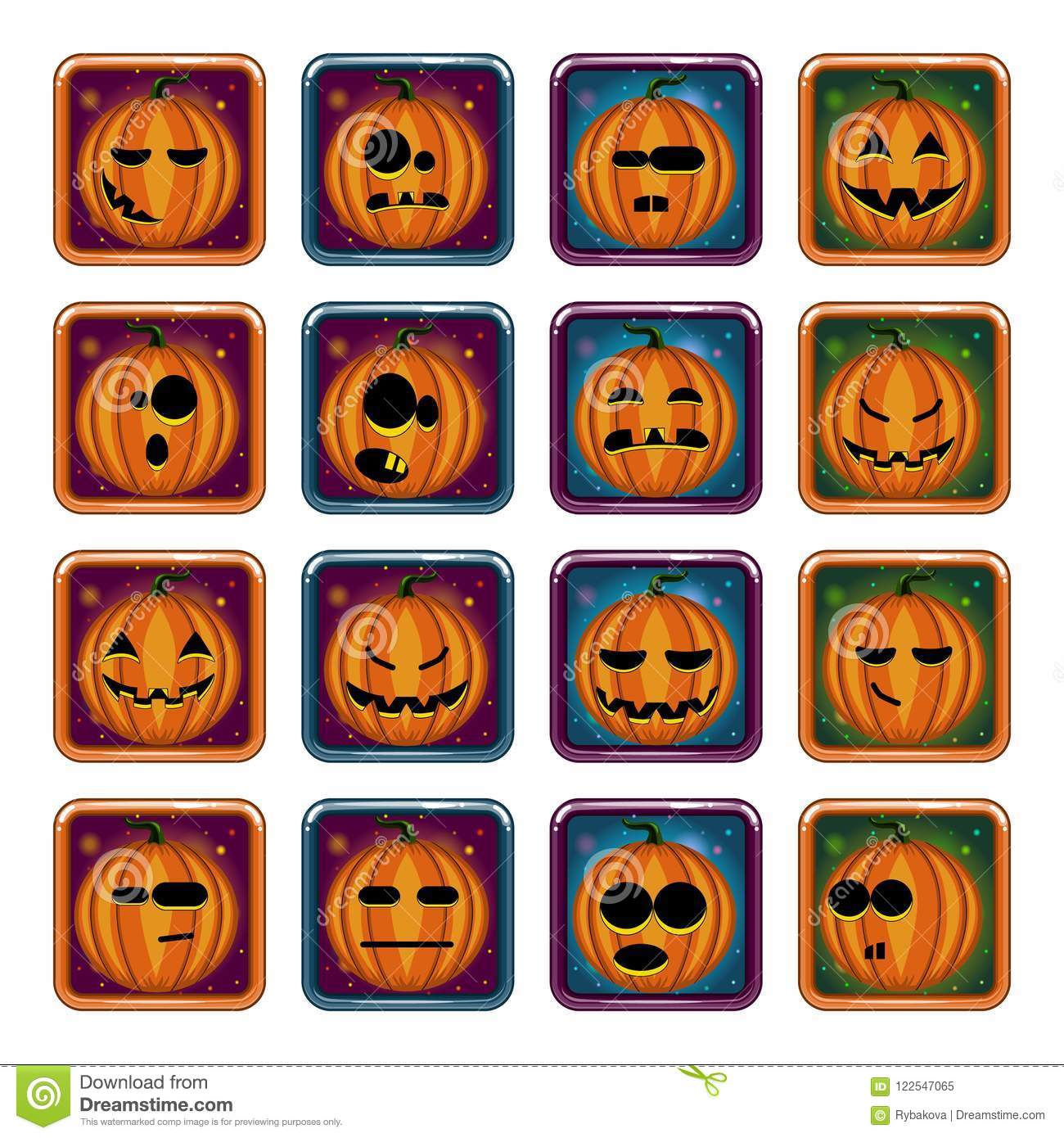 big set apps icon with halloween pumpkin