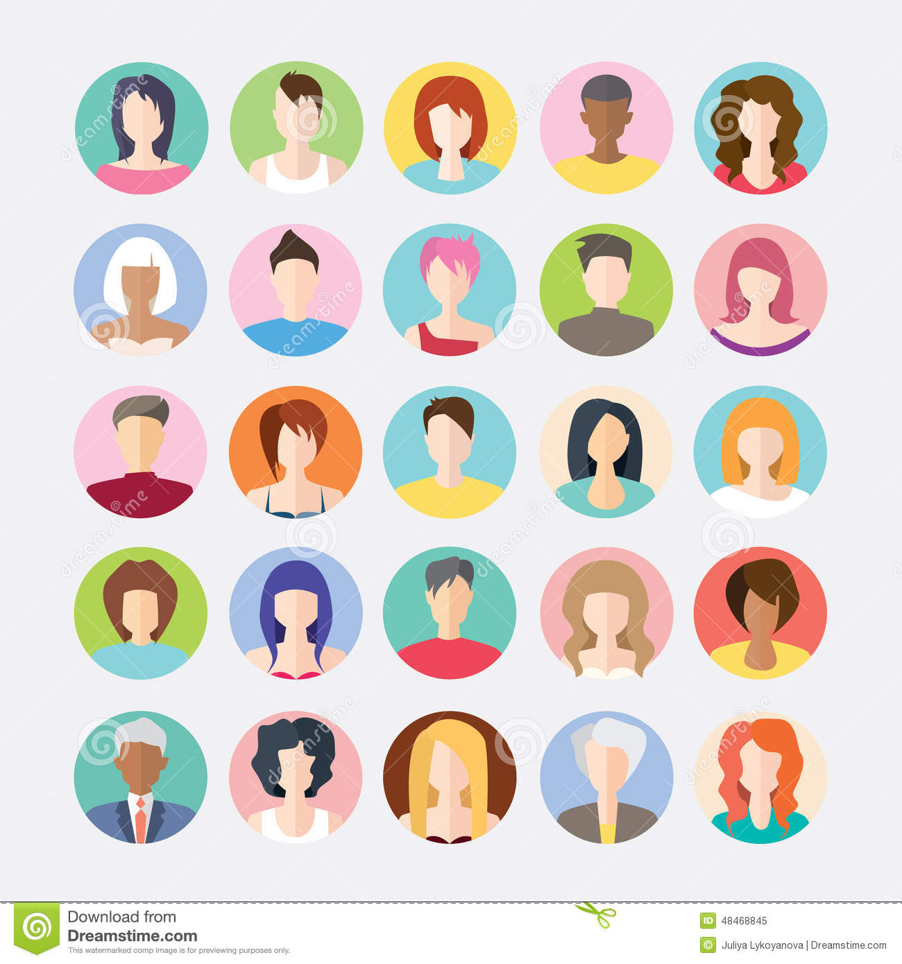big set of avatars profile pictures flat icons stock vector