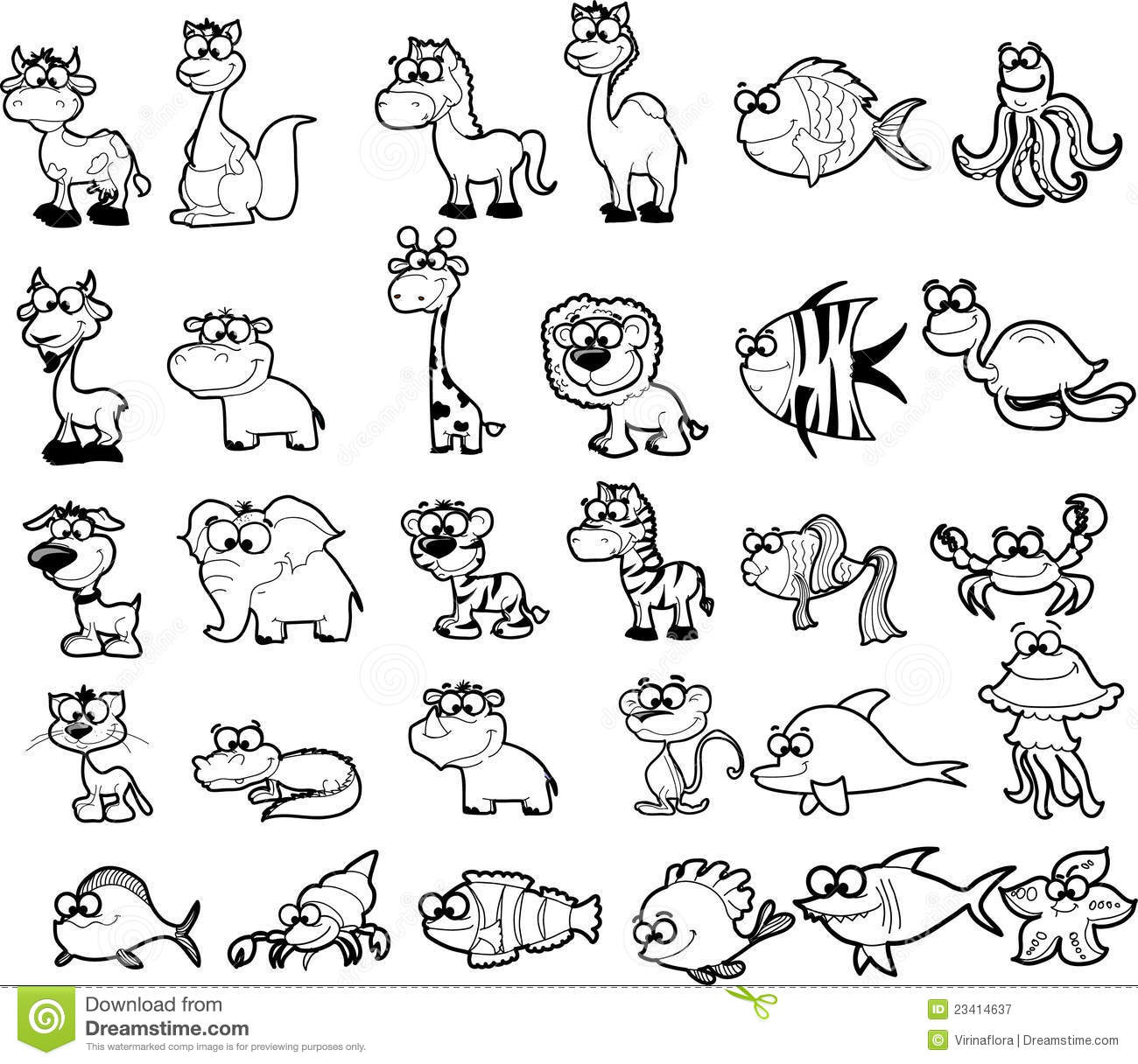 Big Set Of Black And White Cartoon Vector Royalty Free Stock Photography Image 23414637