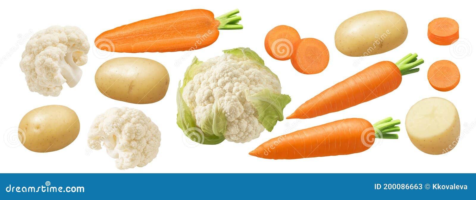 Big Set of Cauliflower, Carrot and Potato Isolated on White ...
