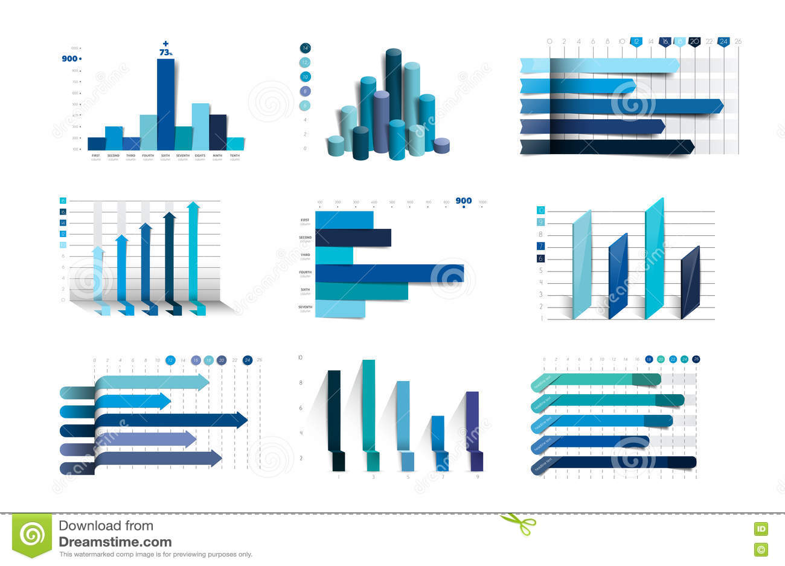 Big set of charst, graphs. Blue color. Infographics business elements.