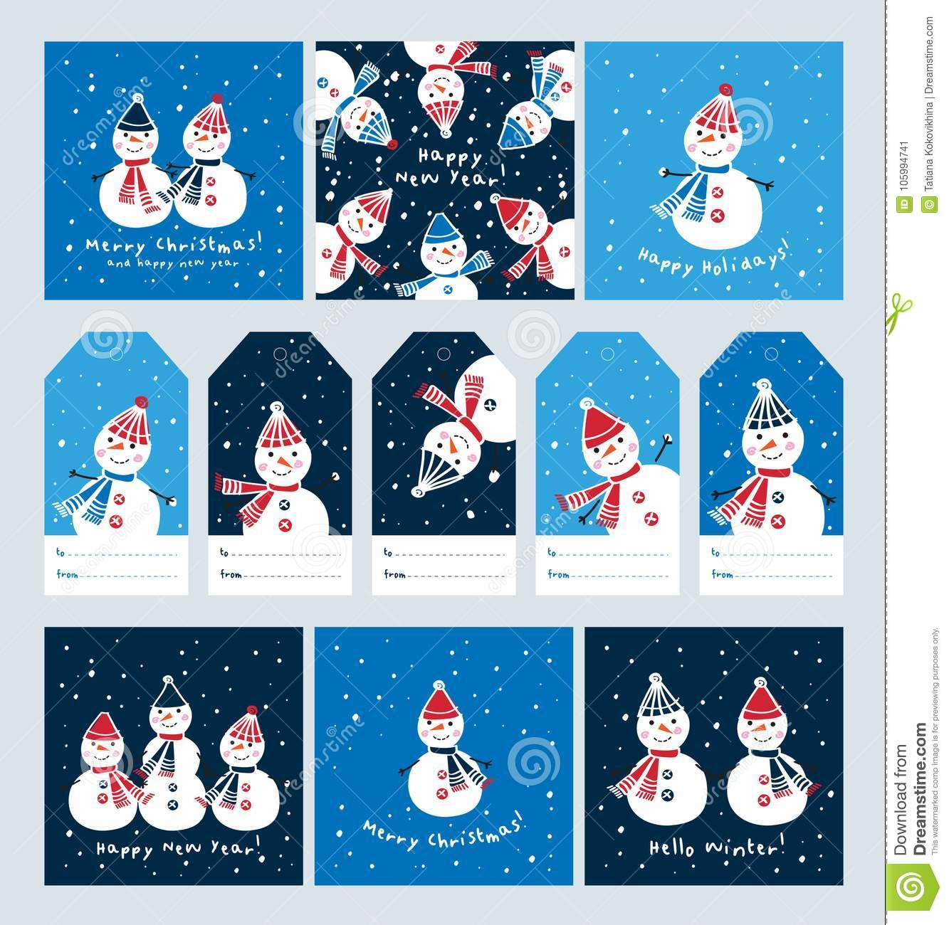 Big Set Of Christmas Cards And Tags With Cute Snowmen. Stock Vector ...