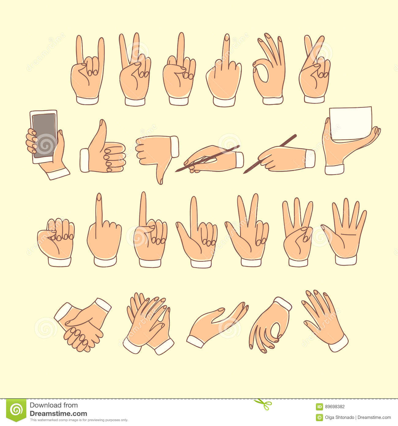 big set of colored doodle hands stock vector illustration of icon
