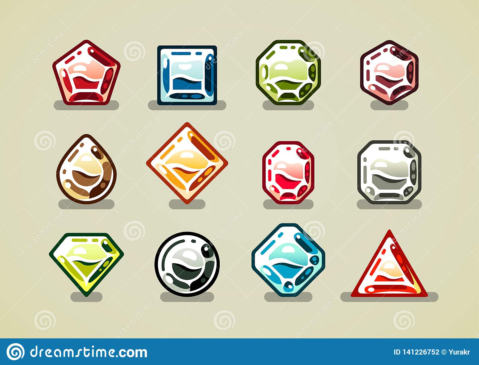 Big set of colorful gems