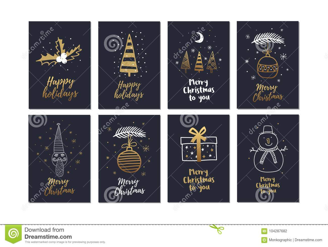 Big Set Of Creative Christmas Cards With Gold Hand Drawn Elements ...