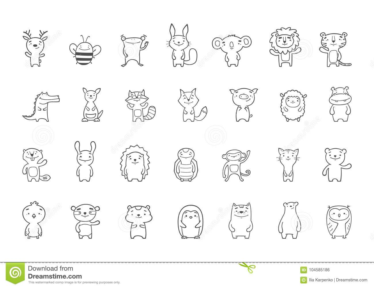 Vector 28 Cute Baby Animals Clipart Stock Illustration ...
