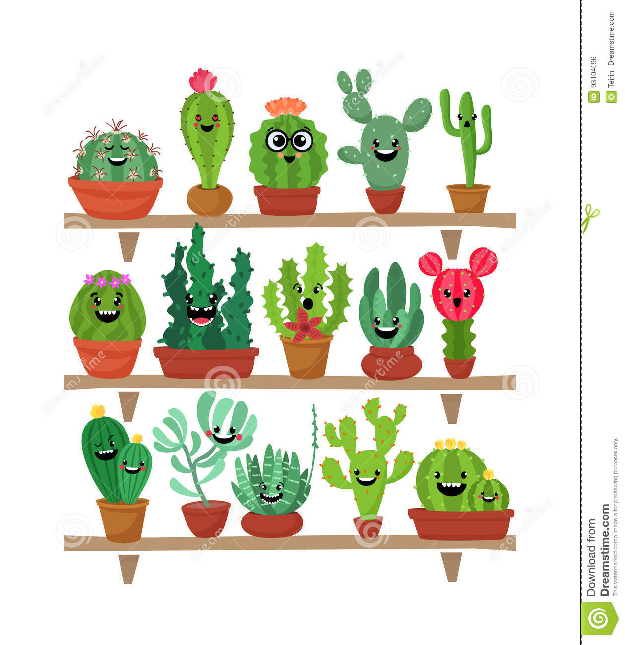 big set of cute cartoon cactus and succulents with funny faces