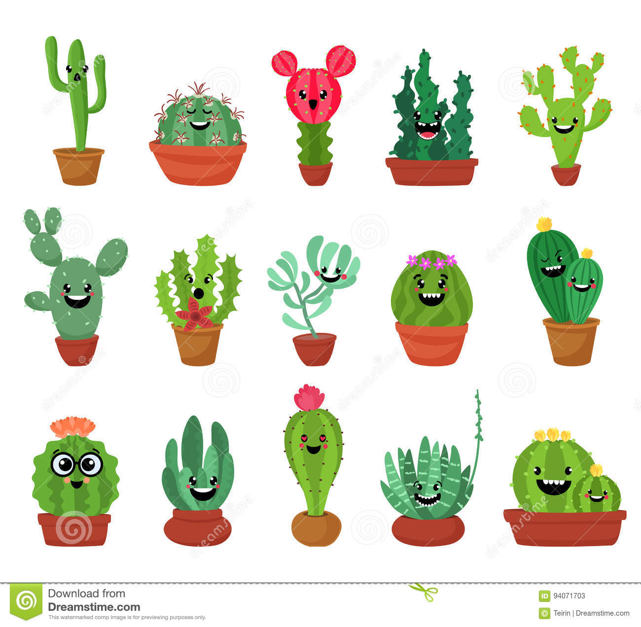 Big Set Of Cute Cartoon Cactus And Succulents With Funny