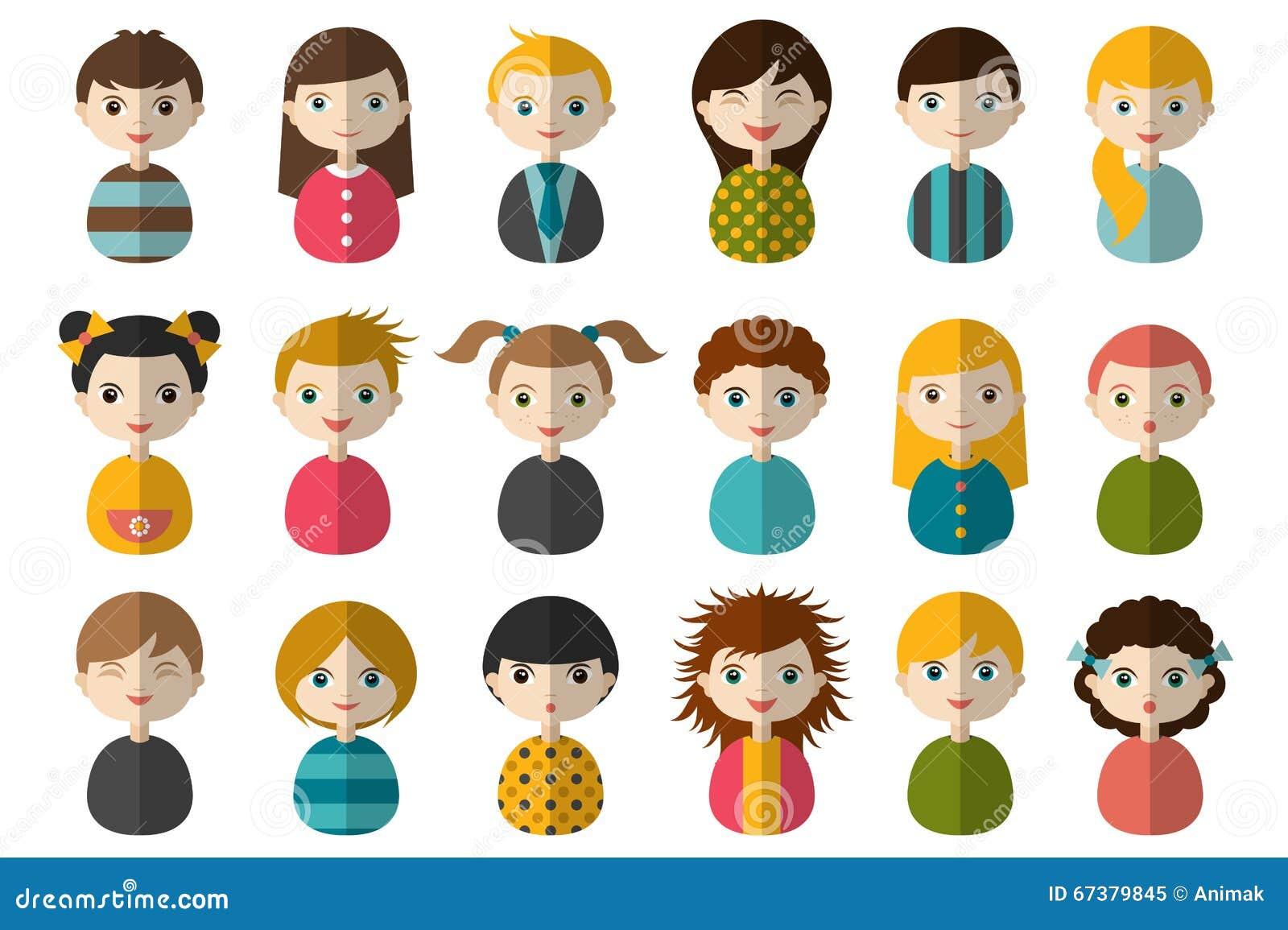 Meninos E Meninas De Nacionalidades Diferentes Childre: Big Set Of Different Avatars Of Children. Boys And Girls