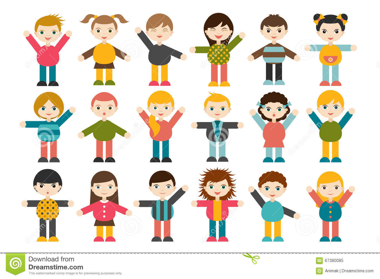 Cute Cartoon Boys And Girls. Vector Clip Art Illustration Stock ...
