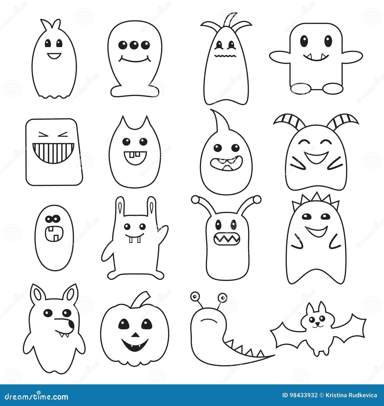 Big set of funny halloween doodle monsters stock vector