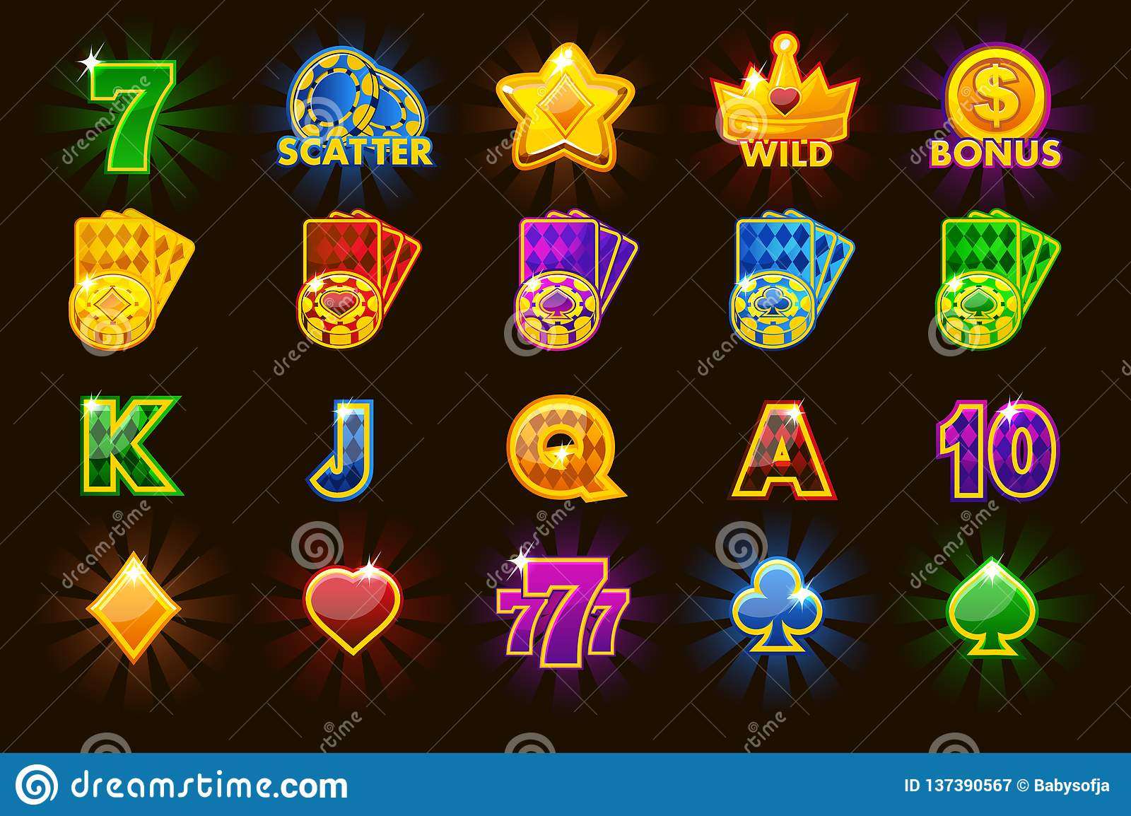 Big Set Gaming Icons Of Card Symbols For Slot Machines Or Casino In Different Colors Game Casino Slot Ui Stock Vector Illustration Of Cards Suit 137390567