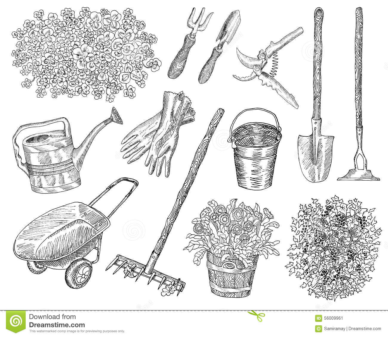 Big Set With Garden Tools And Plants Stock Vector ...