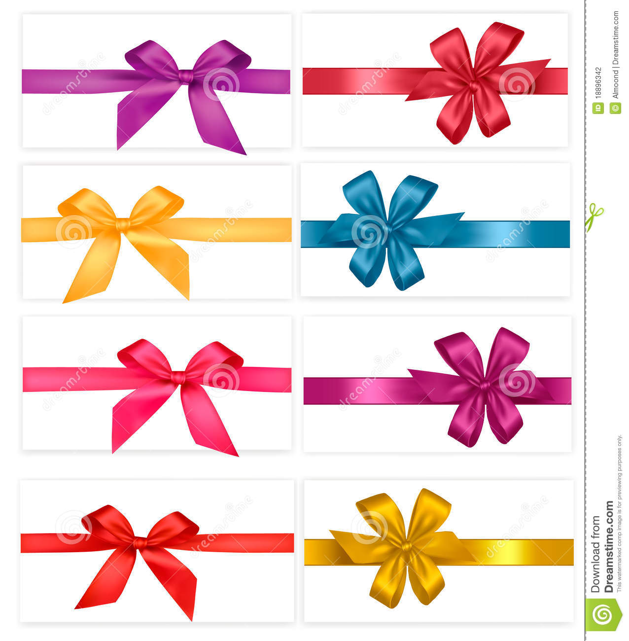 Big Set Of Gift Bows With Ribbons Vector Stock