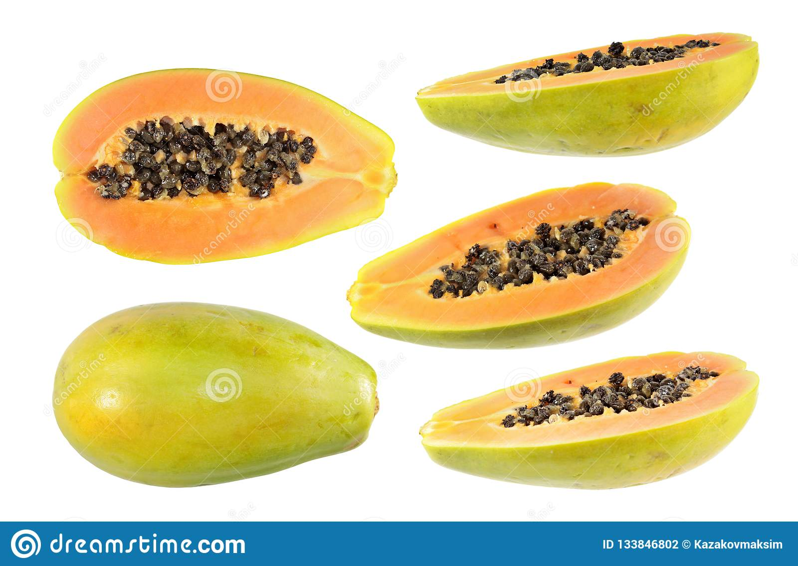 Big set of half cut and whole papaya fruits isolated on white background