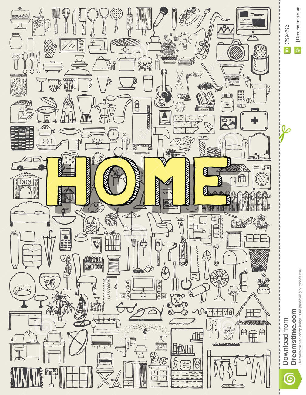big set of hand drawn home appliance icons  home doodles