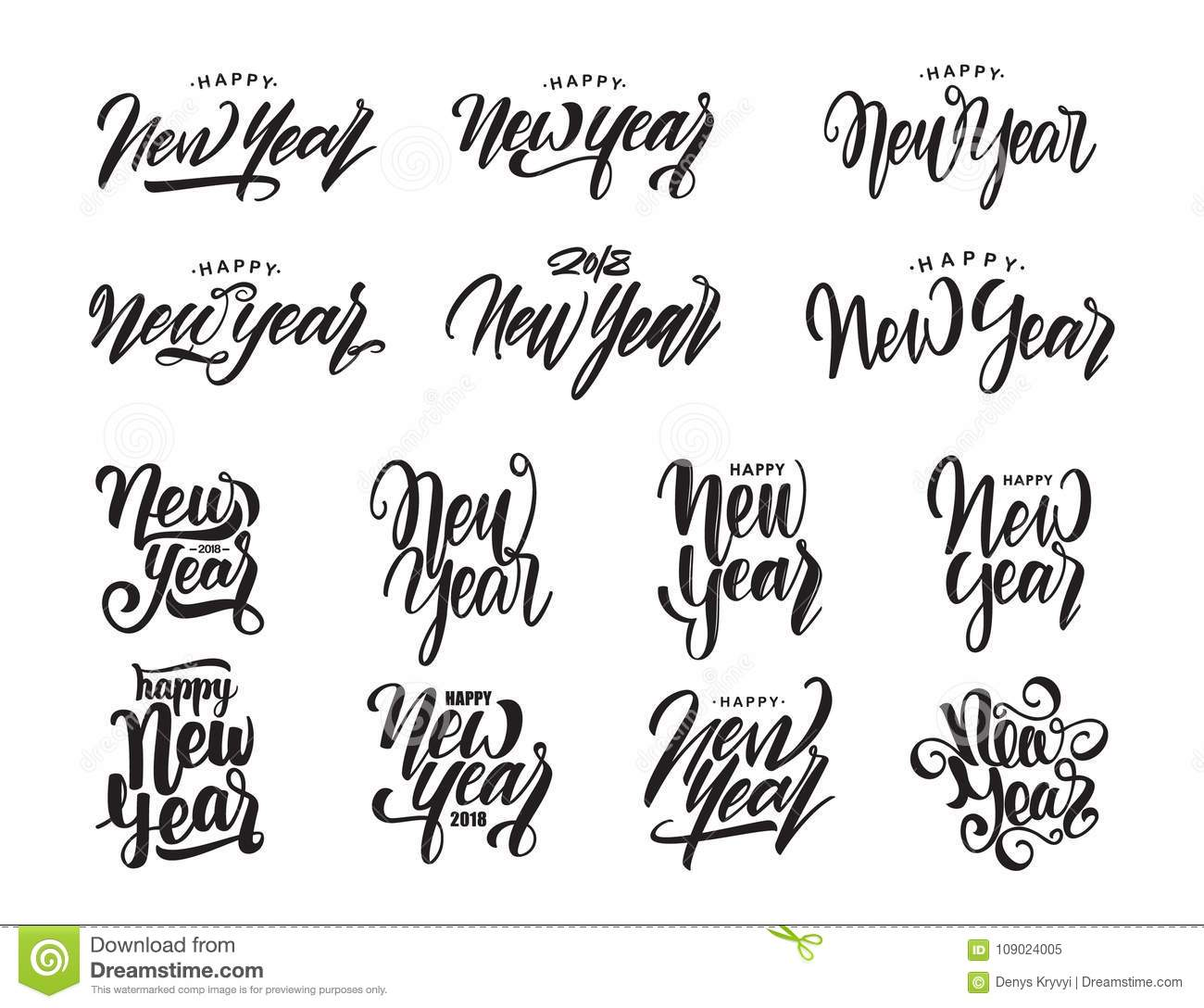 Big Set Of Hand Drawn Modern Type Lettering Of Happy New Year ...