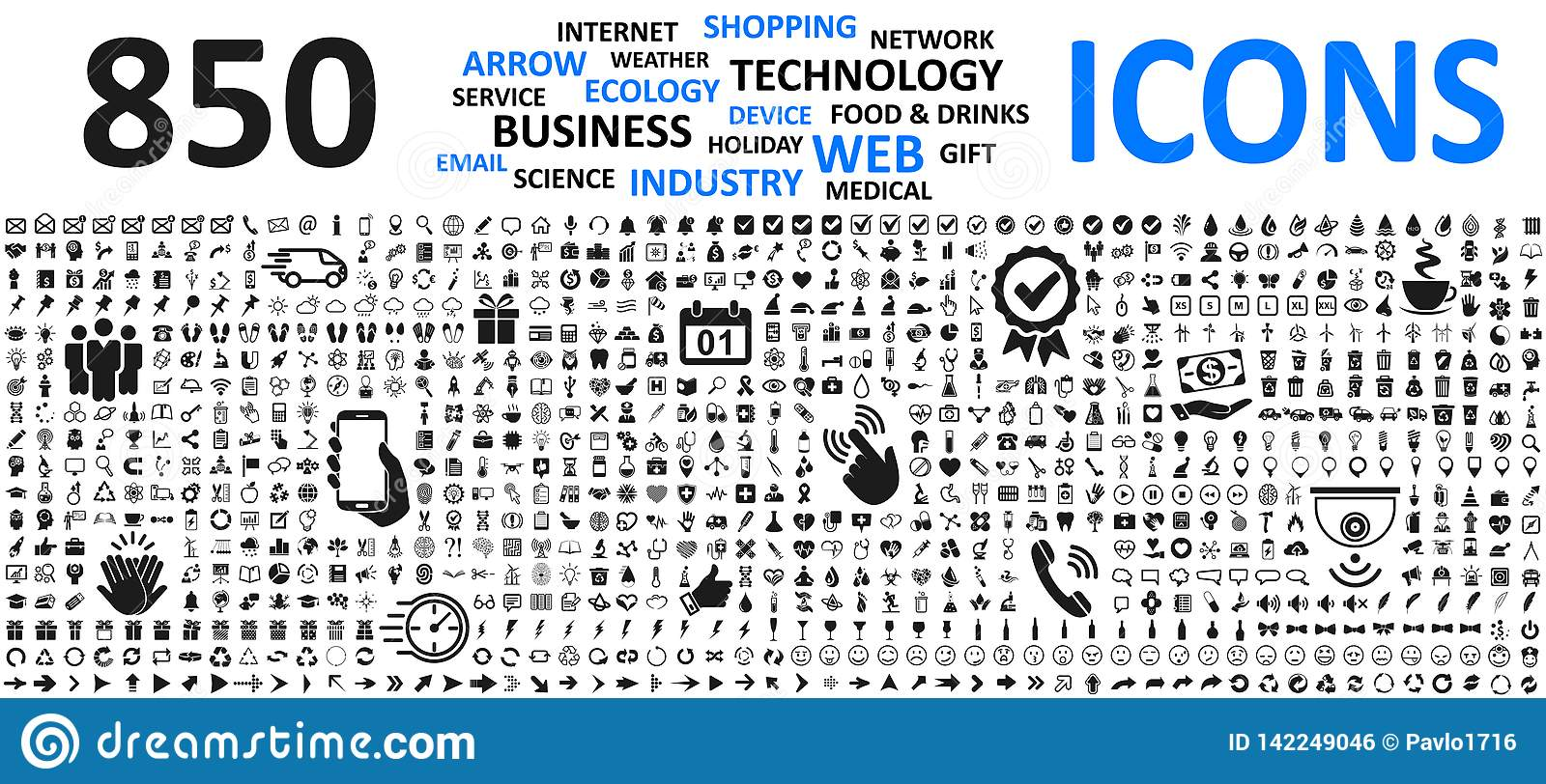 Big set icons: business, shopping, device, technology, medical, ecology, food & drink and many more for any cases of life using