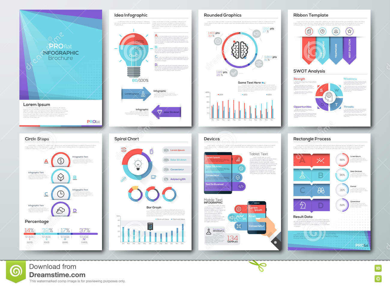 big set of infographic vector elements and business brochures stock
