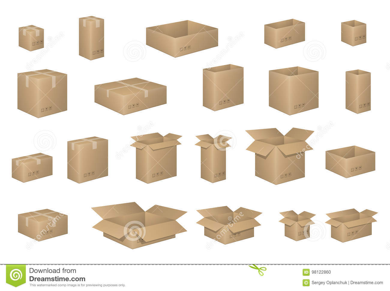 Big Set of isometric cardboard boxes on white. Carton box Organized by layers. Vector illustration of packaging