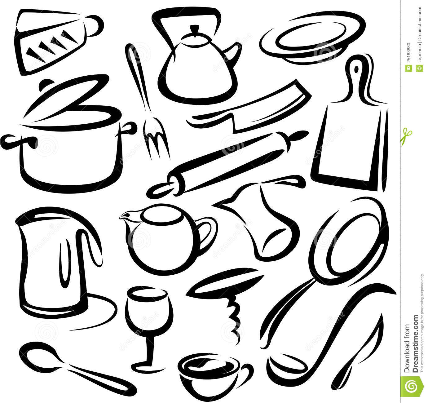 Big Set Of Kitchen Tools, Sketch Stock Vector