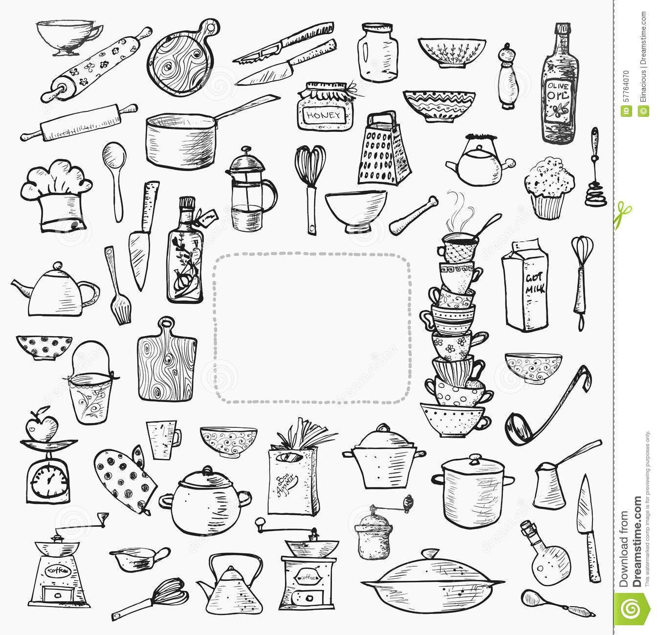 Big Set Of Kitchen Utensils Hand Drawn On White