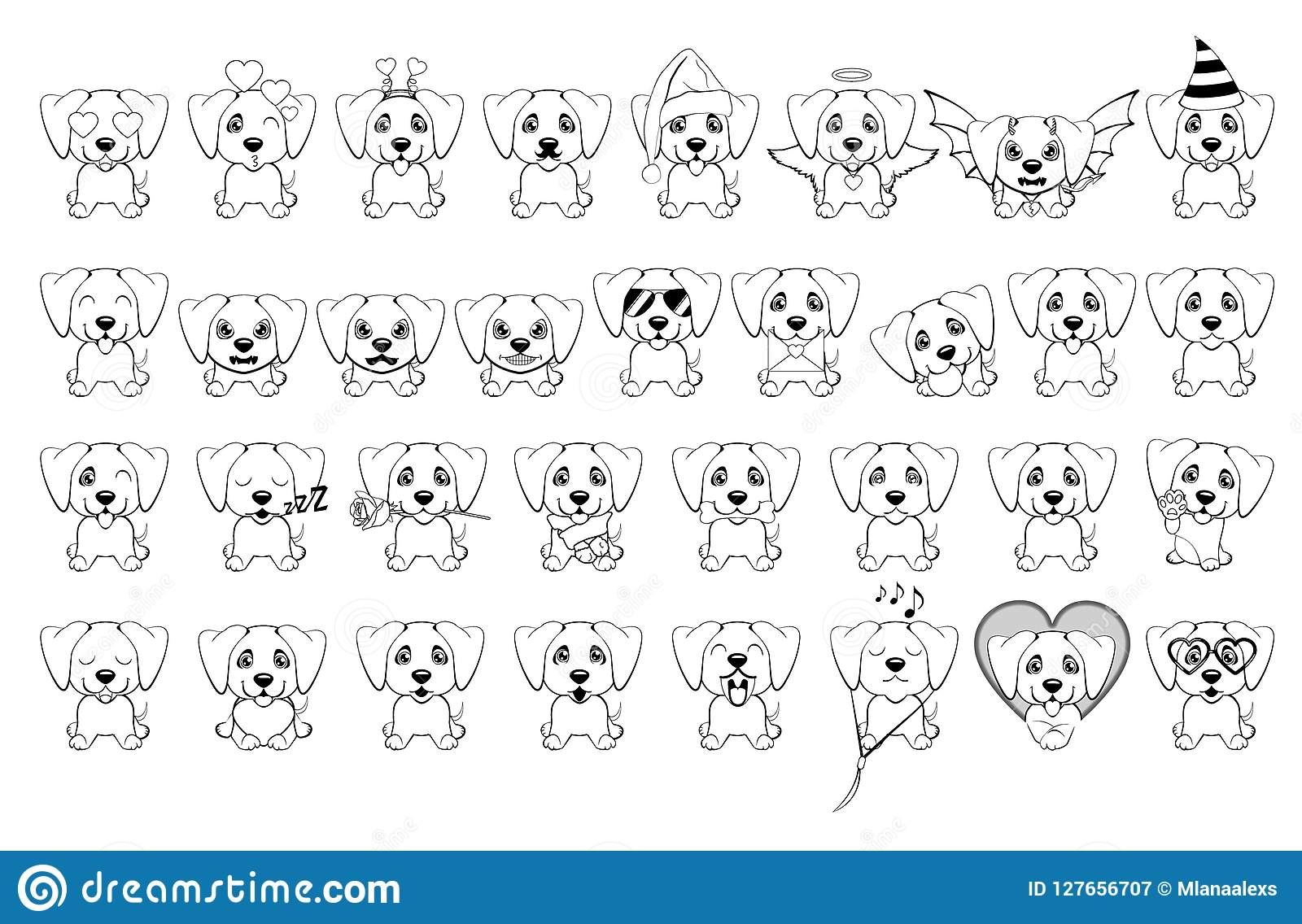 Big Set Of Little Dogs With Different Emotions And Objects Painted With Black Lines On A