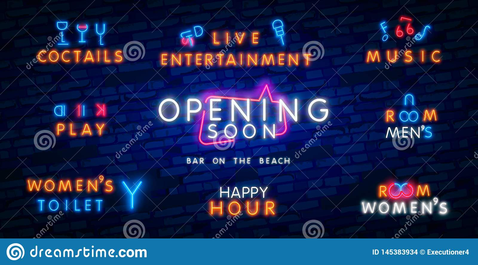 Big Set Neon Coming Soon Neon Sign Luminous Signboard With Signboard Night Bright Advertisement Vector Illustration In Neon Stock Photo Image Of Commercial Announcement 145383934