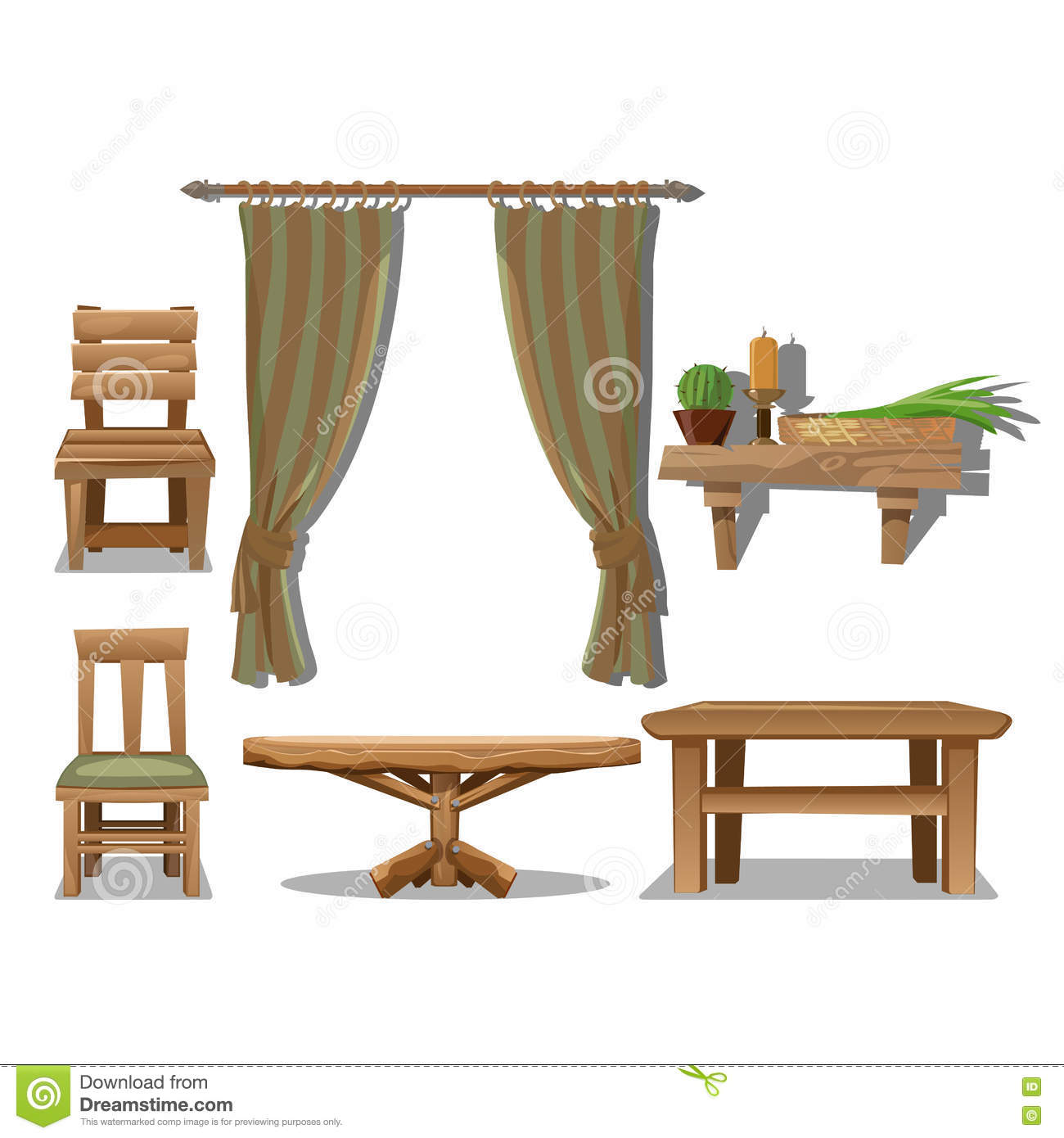 Old wooden chair styles - Big Set Of Old Wooden Furniture In Wild West Style
