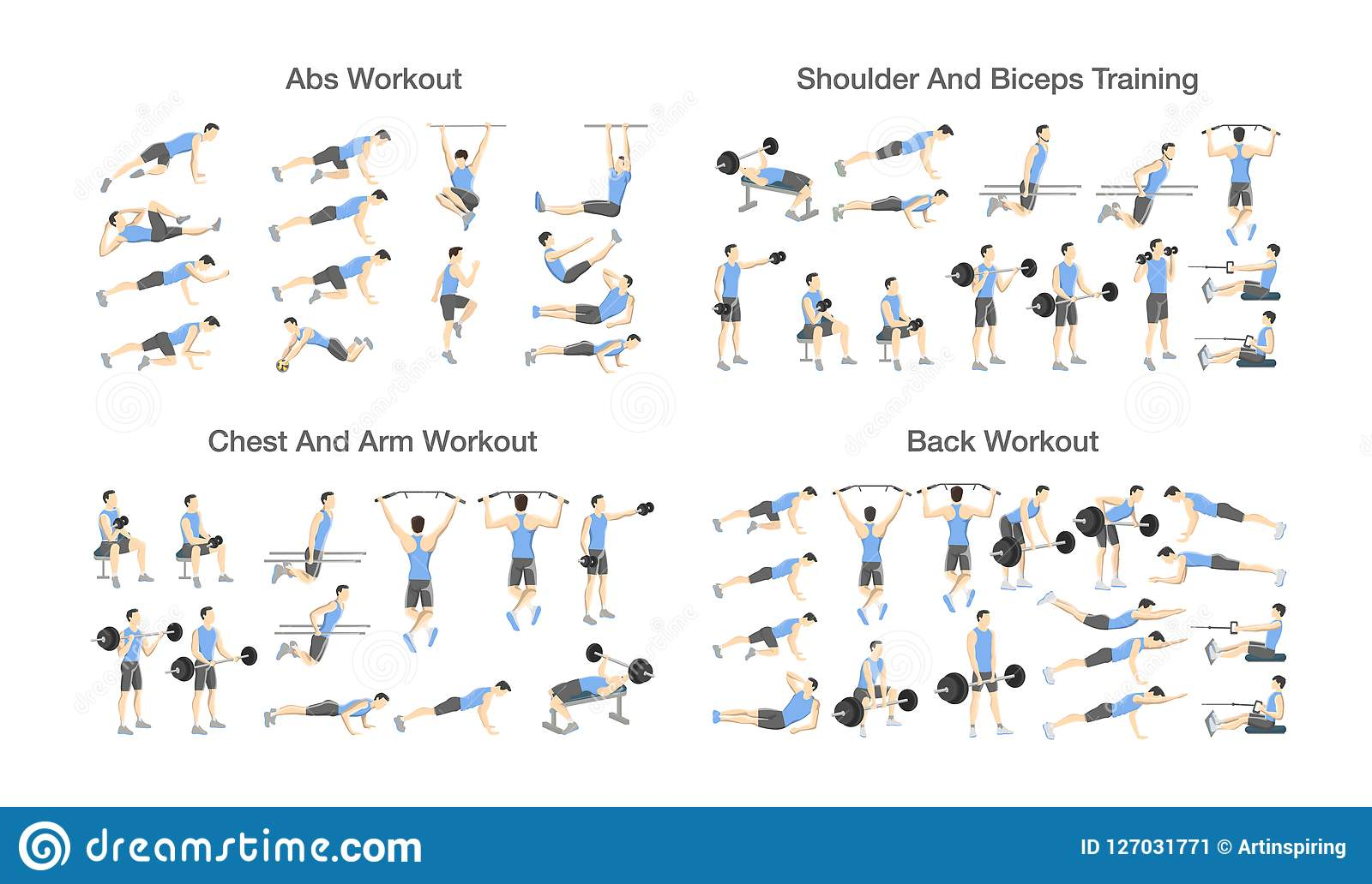 Big Set Of People Doing Exercises In The Gym Stock Vector