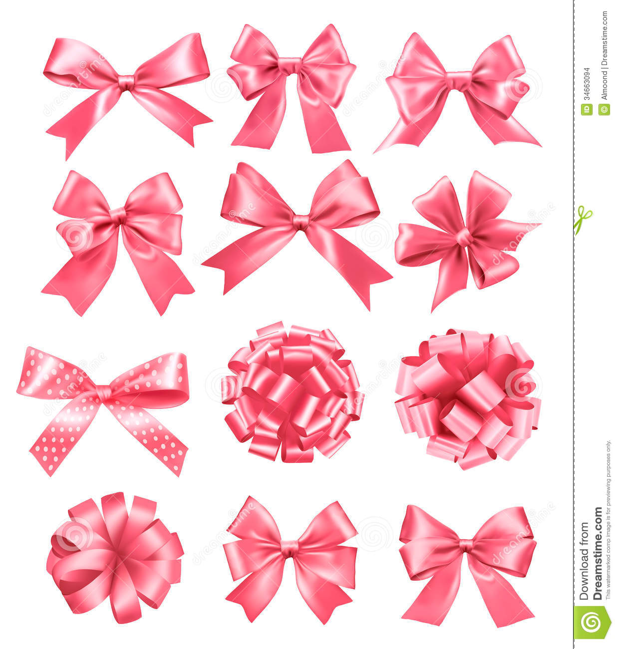 Big Set Of Pink Gift Bows And Ribbons. Stock Images - Image: 34663094