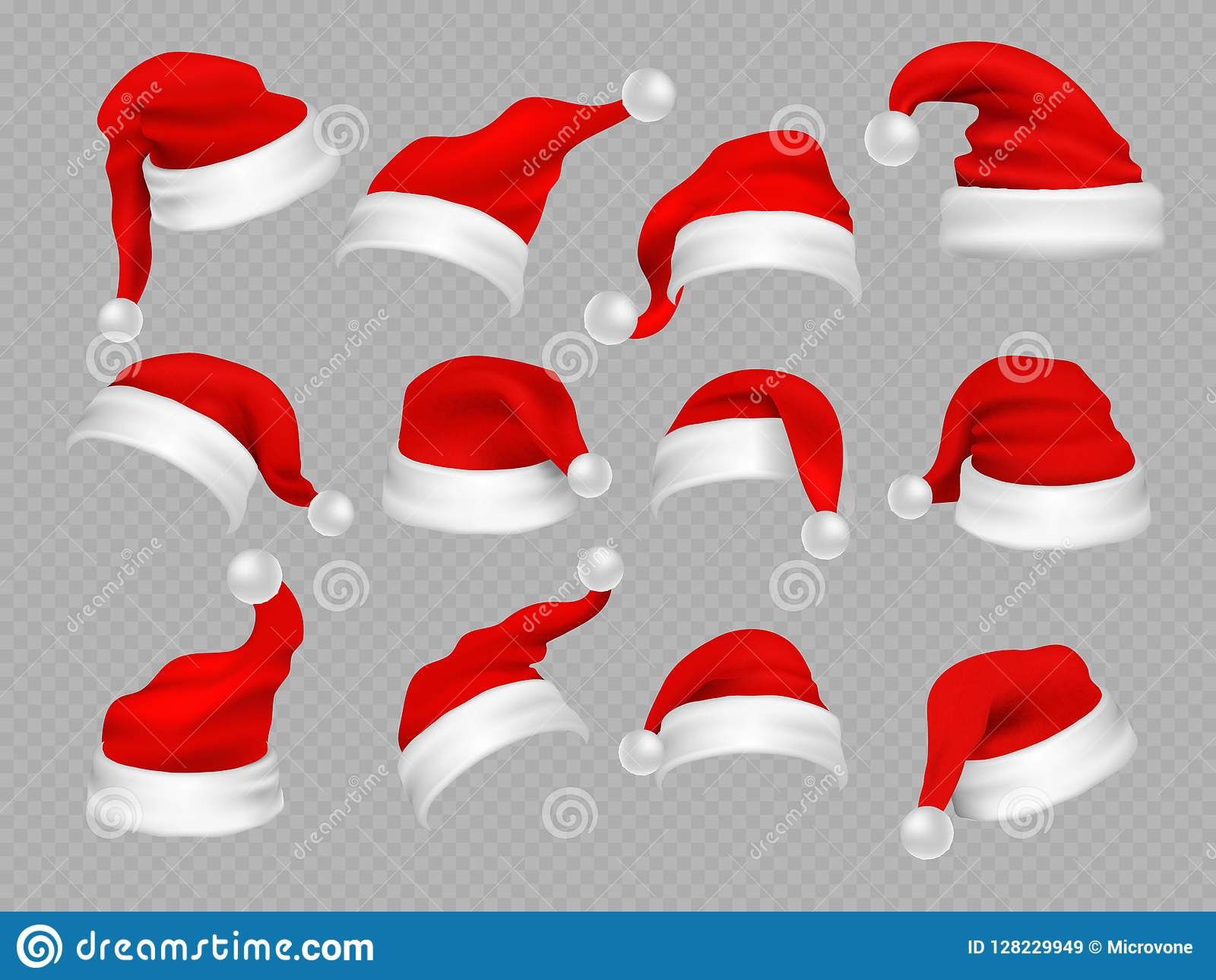 36de1ee36ced4 Big set of realistic Santa Hats isolated on transparent background. Vector  santa claus hat colllection