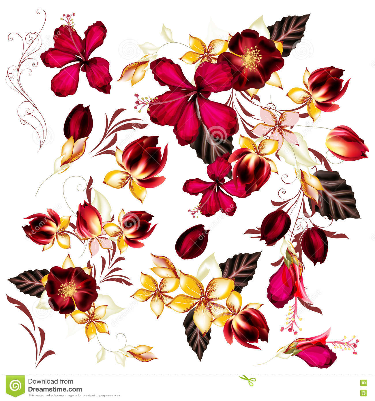 Big Set Of Realistic Vector Flowers For Design Stock Vector