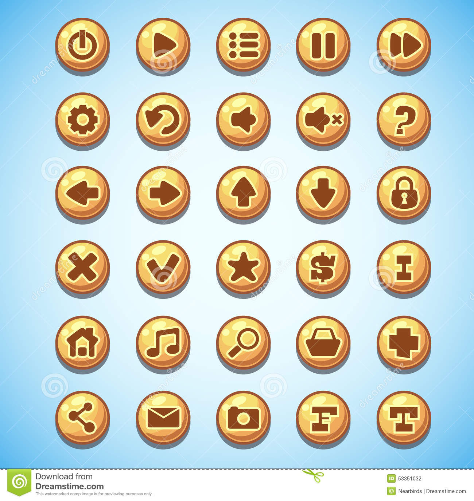 Big set of round buttons cartoon computer game Wild West