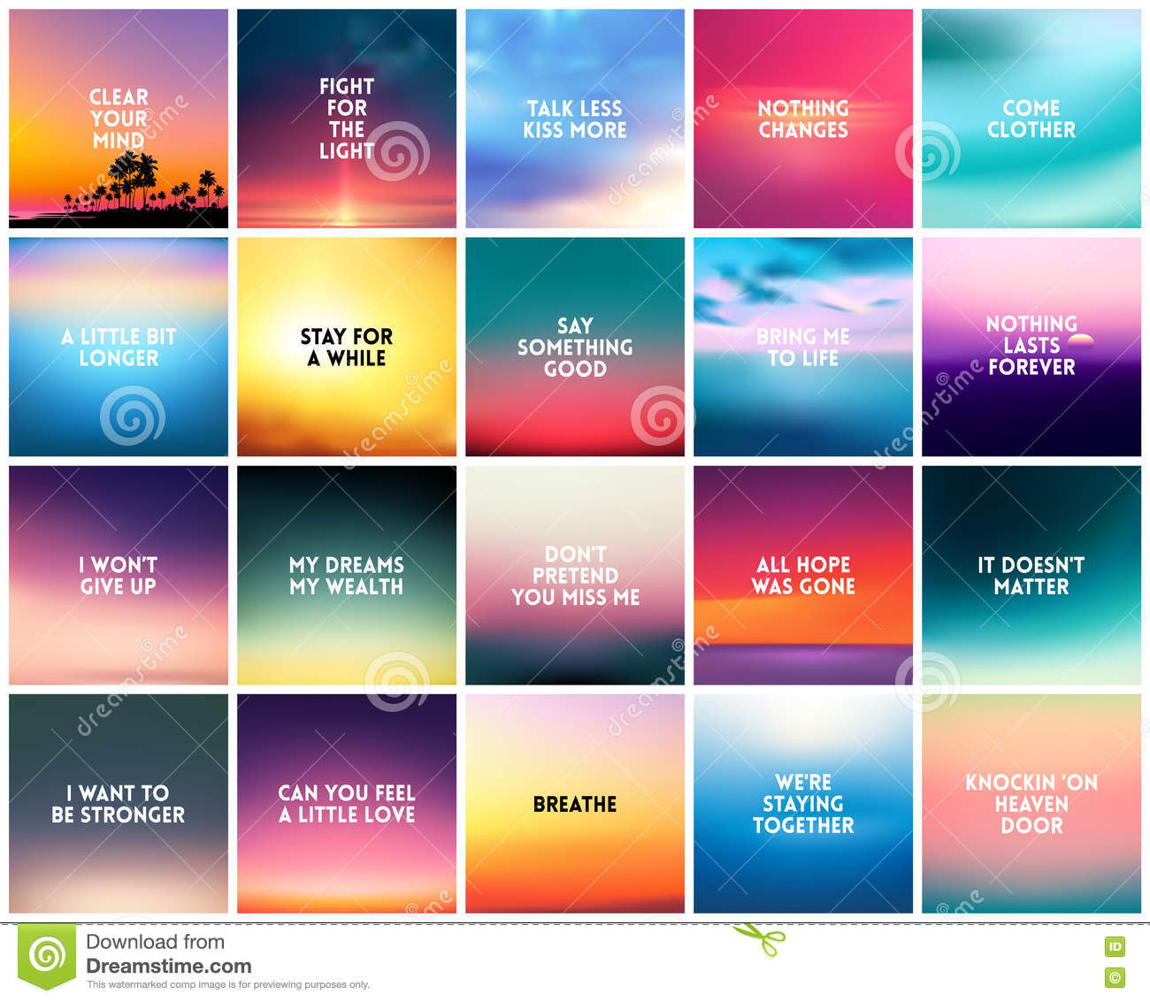 Big Set Of 20 Square Blurred Nature Backgrounds With Various Love