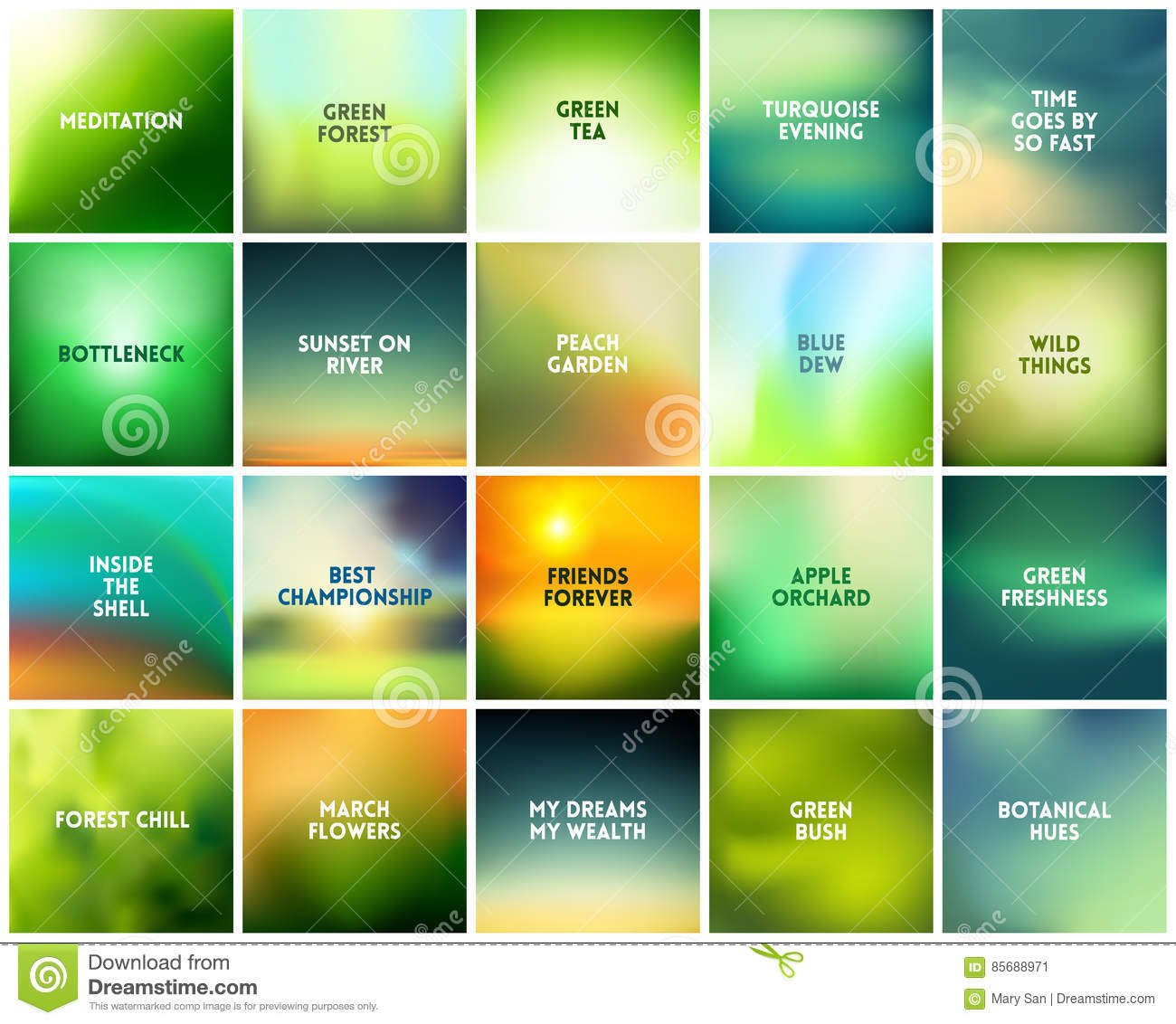 Big Set Of 20 Square Blurred Nature Green Backgrounds With Various