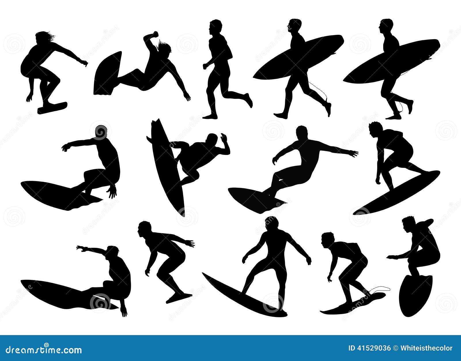 Big Set Of Surfers Silhouettes Stock Illustration