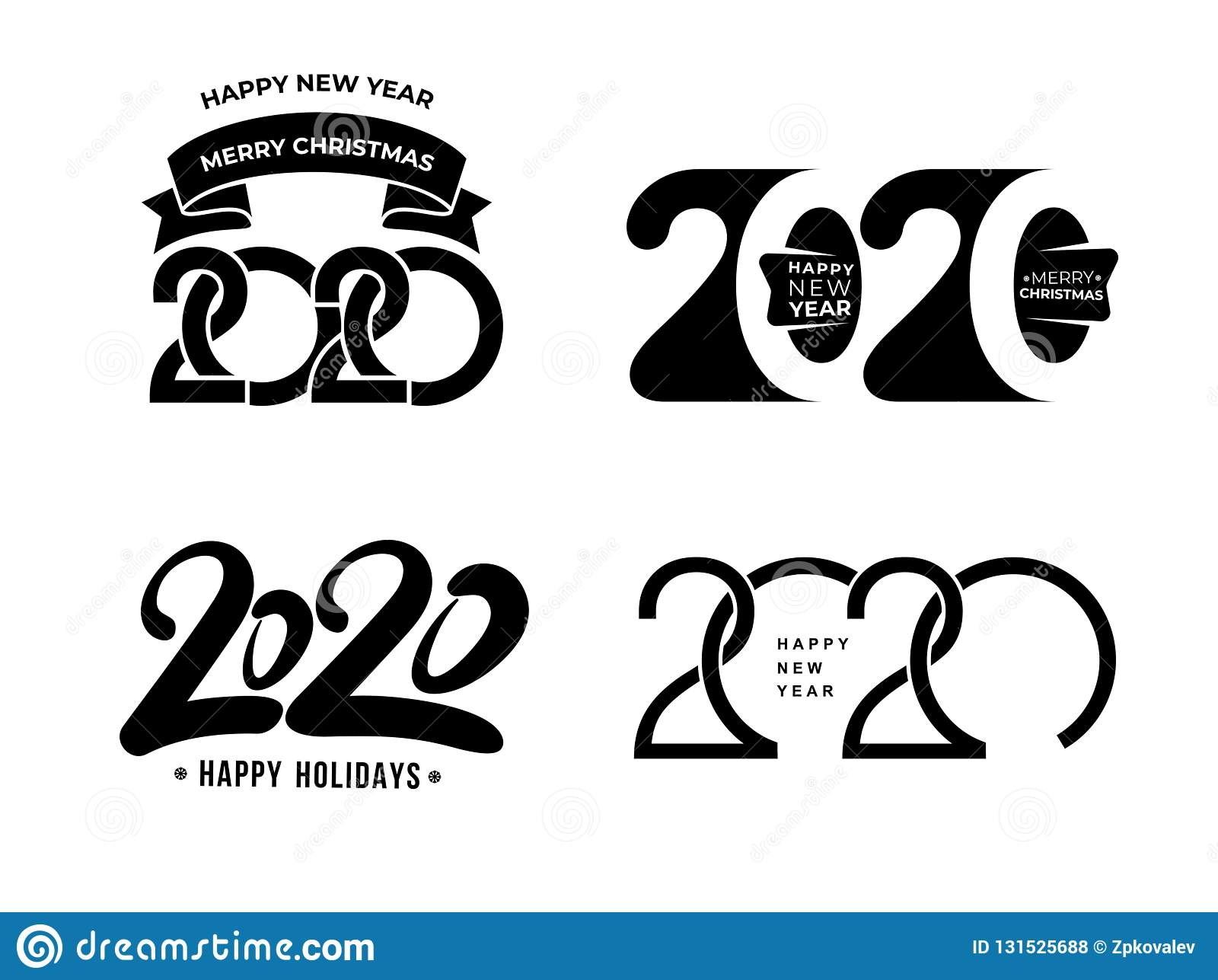 Big Set Of 2020 Text Design Pattern. Collection Of Happy ...
