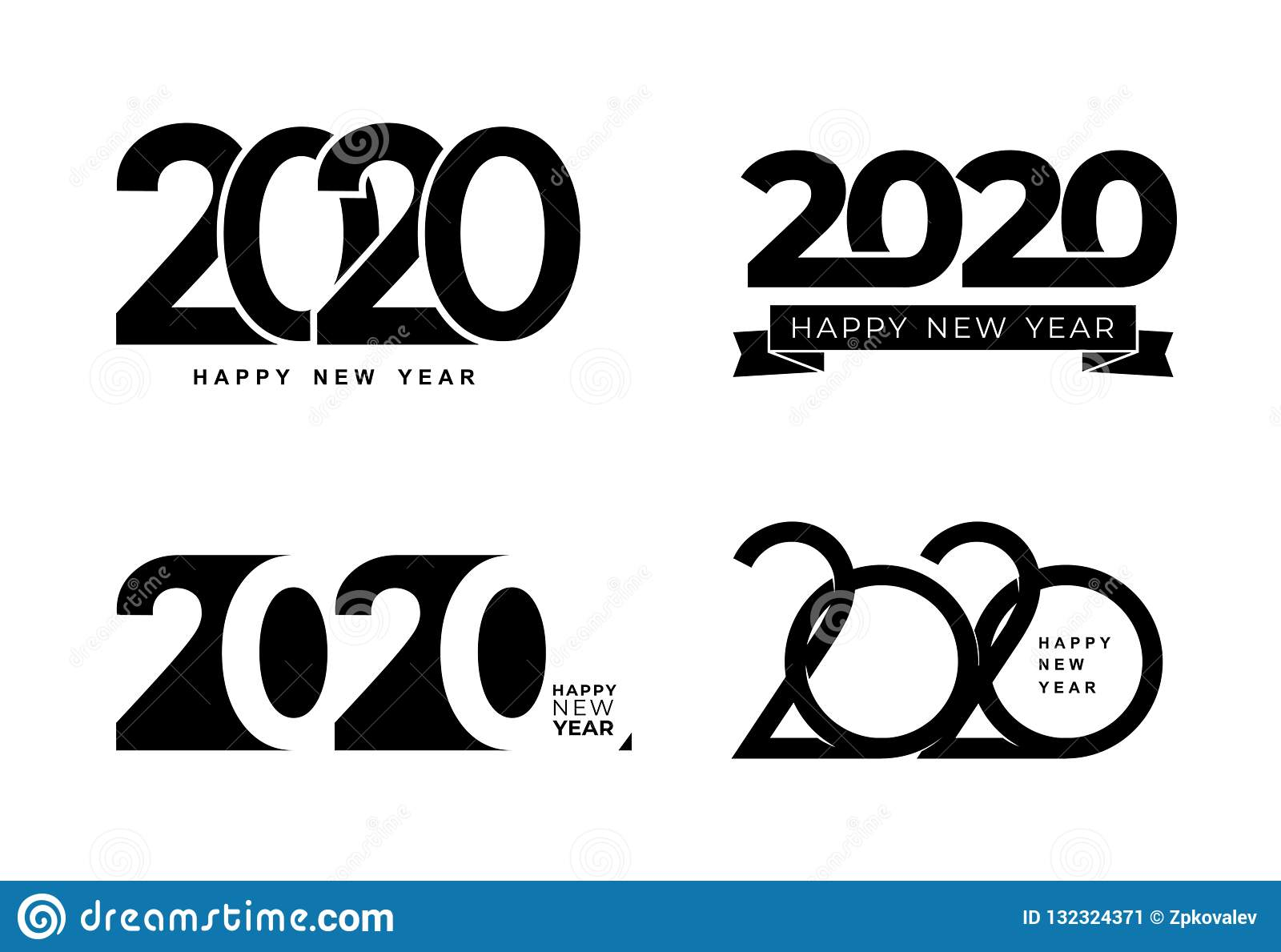 Big Set of 2020 text design pattern. Collection of Happy New Year and happy holidays. Vector illustration. Isolated on white
