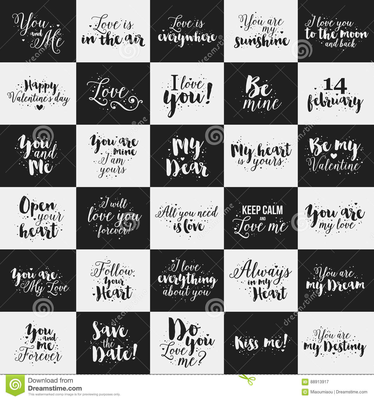 Big Set Of Valentines Day Calligraphic Quotes About Love Romance