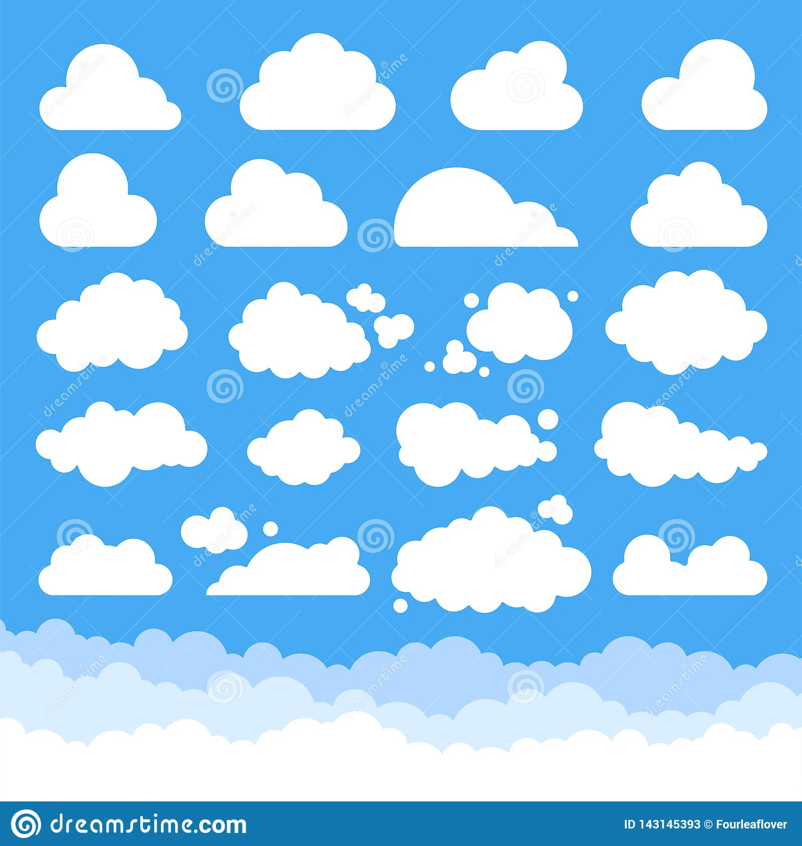 Big set of vector cartoon clouds.