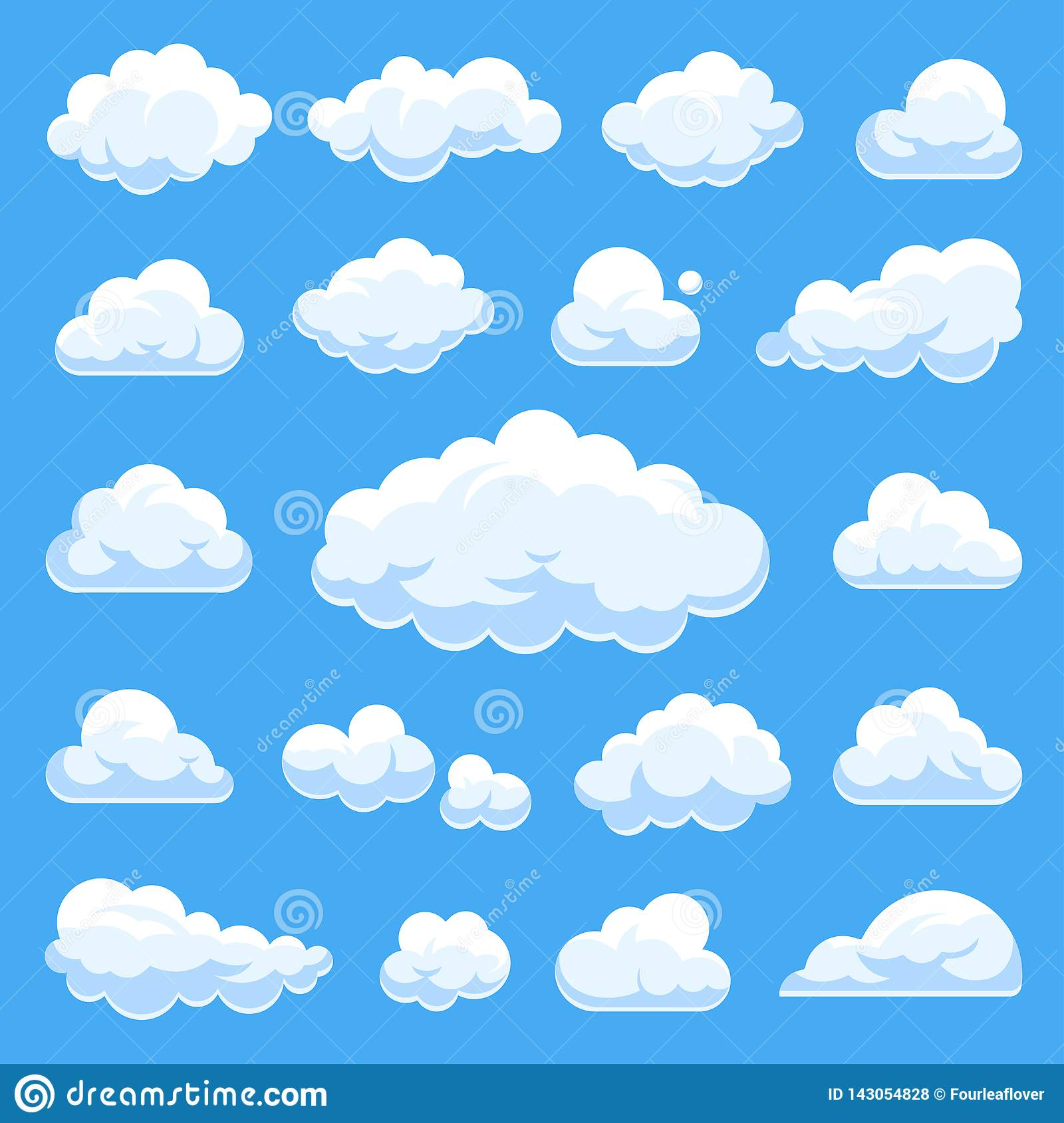 Big set of vector cartoon clouds