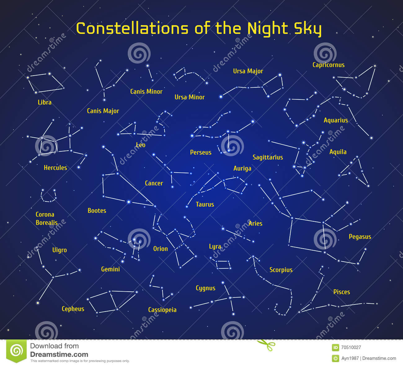 Big Set Of Vector Constellations Collection Of Zodiac - Zodiac constellations map