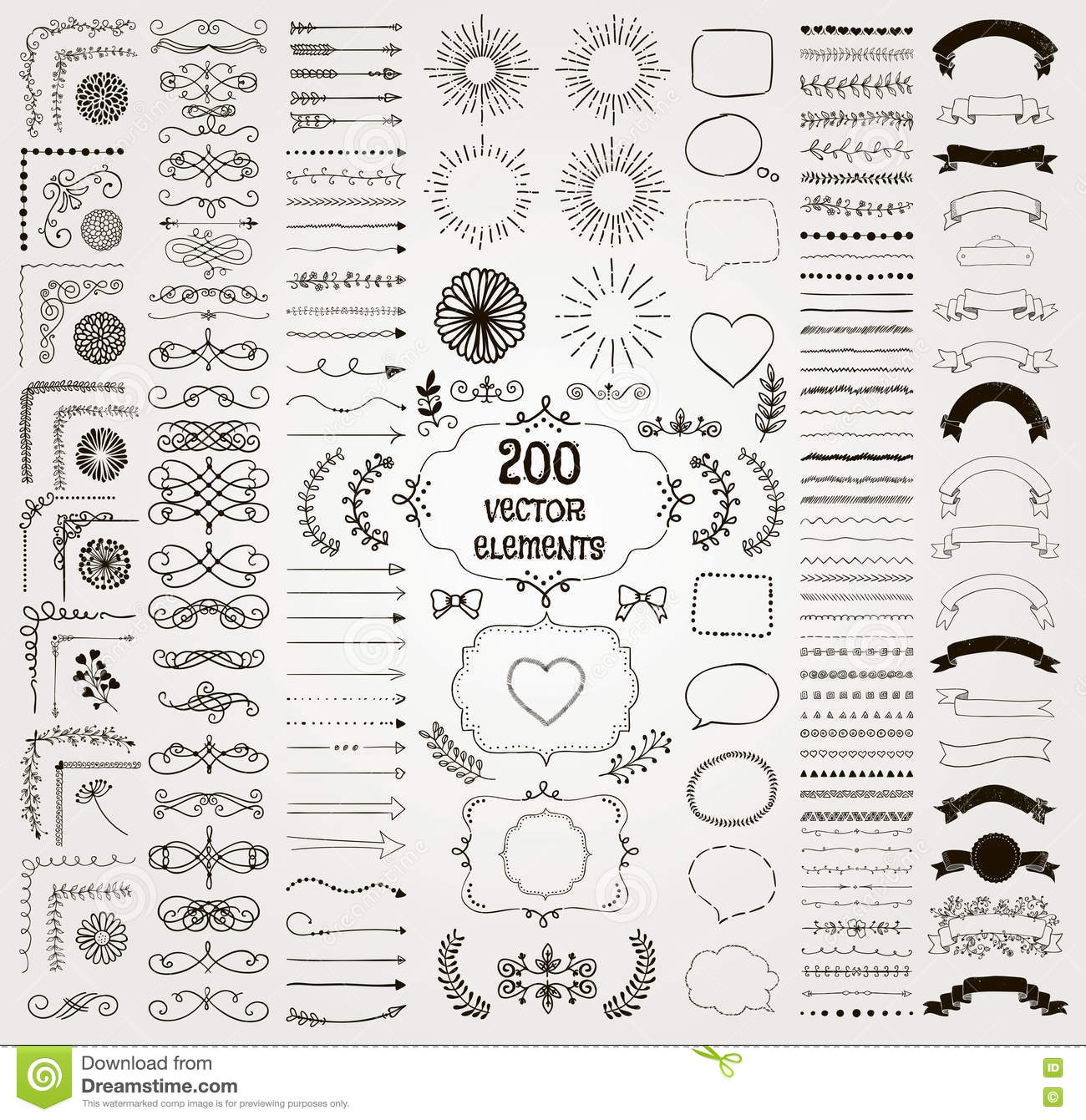 Big Set Of Vector Decorative Hand Drawn Design Elements ...