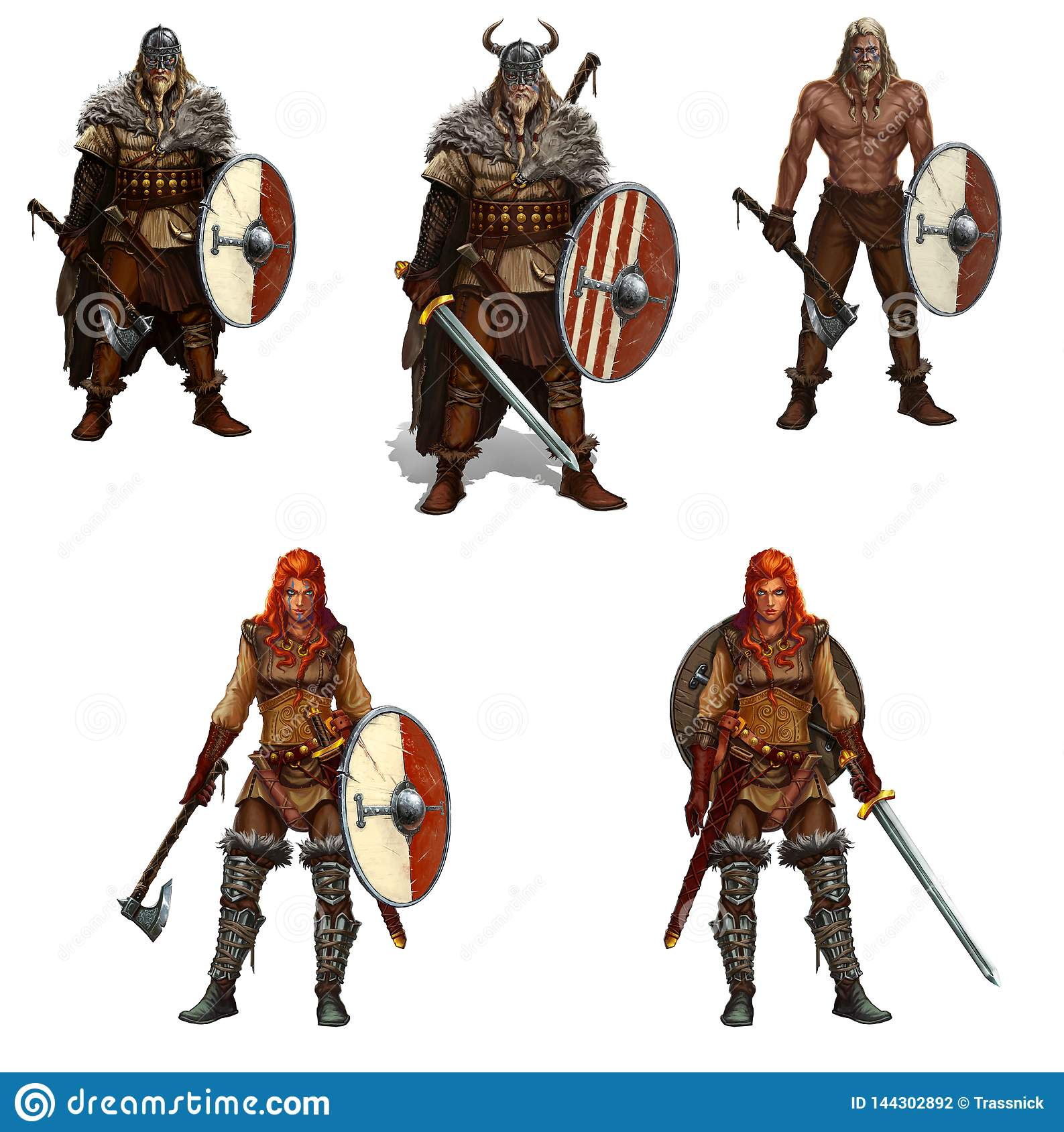 Big Set Of Viking Warriors With Shields And Swords And Axes